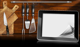 Tablet Computer in the Kitchen Royalty Free Stock Image