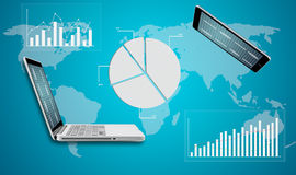 Tablet and computer laptop globe graph finance Royalty Free Stock Image