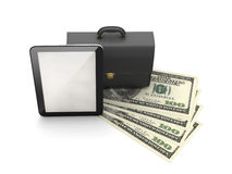 Tablet computer, leather briefcase and dollar bills Royalty Free Stock Photography