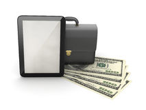 Tablet computer, leather briefcase and dollar bills Royalty Free Stock Image