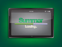 Tablet computer with loading bar. Tablet computer with the message Summer and a loading bar on the screen Royalty Free Stock Image