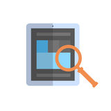 Tablet Computer With Magnifying Glass Icon Data Search Concept Stock Photos