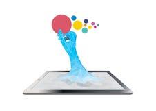 Tablet-Computer mit Handholdingaufkleber Stockfotografie