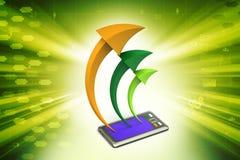 Tablet-Computer mit Pfeil Stockfotos
