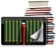 Tablet-Computer mit Seiten und Büchern Lizenzfreies Stockbild
