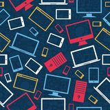 Tablet, computer and mobile icons seamless pattern Stock Image