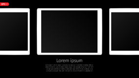 Tablet computer, mobile, mockup composition isolated on black background with blank screen. Front view white tablet vector. Royalty Free Stock Photos