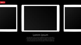Tablet-Computer, Mobile, Modellzusammensetzung lokalisiert auf schwarzem Hintergrund mit leerem Bildschirm Weißer Tablettenvektor Lizenzfreie Stockfotos