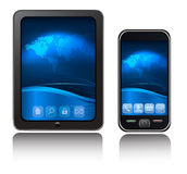 A tablet computer and mobile phone. Stock Photos