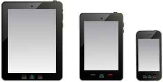 Tablet computer and mobile phone Stock Image