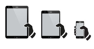 Hands holding a tablet with isolated screen Royalty Free Stock Image