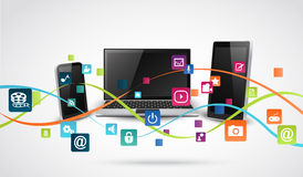 Tablet computer and mobile phones with colorful application icon Royalty Free Stock Image