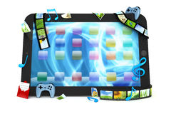 Tablet computer with movies, music, and games Stock Photo