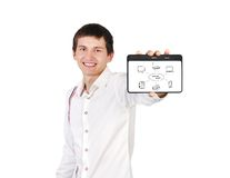 Tablet with computer network Royalty Free Stock Photos