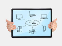 Tablet with computer network. In hands on a white background Stock Image