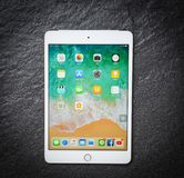 Tablet computer New Apple iPad mini white gold color with display screen front on dark background stock photo