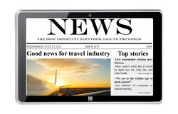 Tablet computer with news Stock Photo