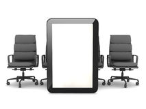 Tablet computer and office chairs Royalty Free Stock Images