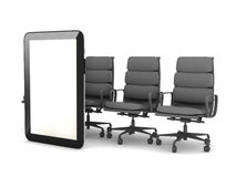 Tablet computer and office chairs Stock Image