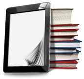 Tablet Computer with Pages and Books Royalty Free Stock Photo