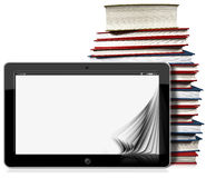 Tablet Computer with Pages and Books. 3D illustration of a horizontal black tablet computer with blank pages and a stack of books. Isolated on white background Stock Image