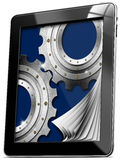 Tablet computer with Pages and Gears Royalty Free Stock Image