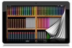Tablet Computer with Pages and Library. Horizontal black tablet computer with curled pages and a library in the screen.  on white background Royalty Free Stock Photography