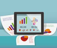 Tablet computer on the paper. With graph. Business concept Stock Photo