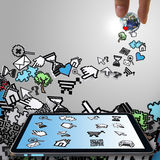Tablet computer with pixel computer icons Royalty Free Stock Image