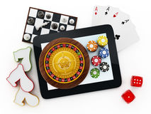 Tablet computer, playing cards, roulette,chips, dice. Tablet computer, playing cards, roulette,chips, dice isolated on white background stock illustration