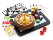Tablet computer, playing cards, roulette,chips, dice. Tablet computer, playing cards, roulette,chips, dice isolated on white background vector illustration