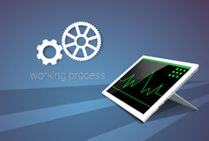 Tablet Computer Responsive Design Financial Graph Working Process. Vector Illustration Royalty Free Stock Image
