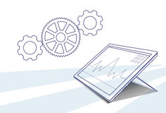 Tablet Computer Responsive Design Financial Graph Working Process. Vector Illustration Stock Photo