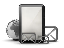 Tablet computer and shape of envelopes Stock Photo