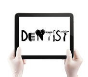 tablet computer show design word DENTIST Stock Image
