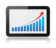 Tablet Computer Showing Success Graph Isolated. Modern digital tablet PC showing success chart on a screen. Isolated on white. Include clipping path for tablet Stock Images