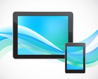 Tablet computer with smart phone Royalty Free Stock Images