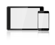 Tablet computer Smart Phone on white background Stock Photos
