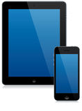 Tablet computer and smartphone. A modern tablet computer and smartphone isolated with reflection Royalty Free Stock Image