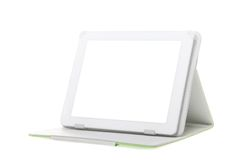 Tablet computer with stand on a white background. Royalty Free Stock Images