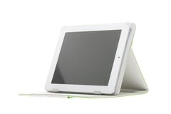 Tablet computer with stand on a white background. Royalty Free Stock Image