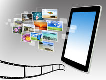 Tablet computer streaming images Stock Image