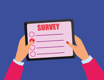 Tablet Computer Survey Screen Stock Photos