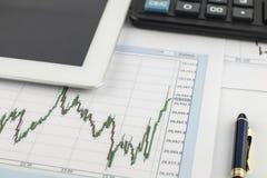 Tablet-Computer, Taschenrechner, Stift und Finanzdiagramm auf weißem Hintergrund Stockbild
