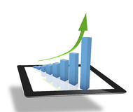 Tablet computer to work with financial data Stock Photo