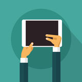 Tablet Computer Touch Finger, Social Network Communication Concept Royalty Free Stock Photos