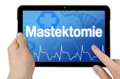 Tablet computer with touchscreen and the german word for mastectomy royalty free stock photos