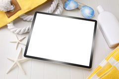 Tablet Computer Travel Vacation Technology Background Stock Photo