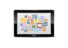 Tablet-Computer und Anwendungsknopf Stockbilder