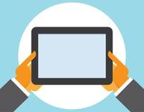 Tablet computer in user hands Stock Photos